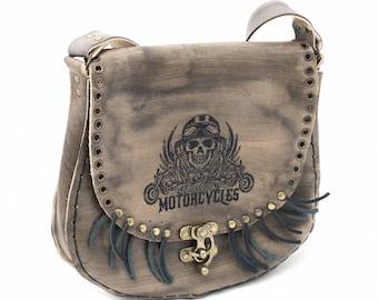 Agatha 1008: Leather Shoulder Bag with Motorcyle-Skull Pattern