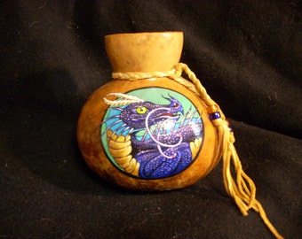 Hand Painted Gourd- Purple Dragon 2