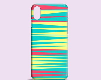 Bright stripes iPhone X case / turquoise iPhone 8, 8 Plus, iPhone 7, iPhone 7 Plus, iPhone SE, iPhone 6S, iPhone 6, iPhone 5S, 5, Samsung S7