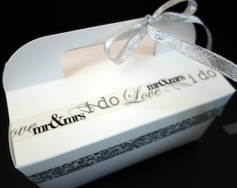 4 Dozen (48) GABLE CAKE BOX Bride & Groom Paper Food Grade Catering, To Go, Favor, w/ Handle Ribbon Decorated Black, White, Silver