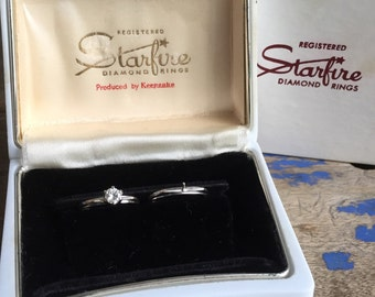 Midcentury Diamond 14K white gold diamond set stamped STARFIRE