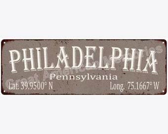 Philadelphia Latitude & Longitude Black Metal Sign 6x18 6180418