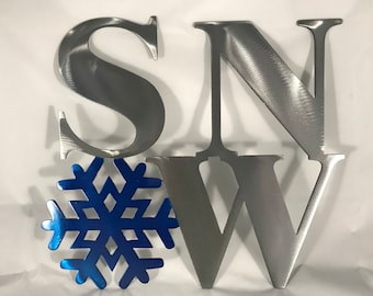 Snow with Snow Flake Metal Wall Art