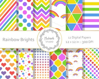 Rainbow digital paper - Rainbow clipart - Scrapbook paper - Rainbow Bright Digital Paper - Digital Paper - Commercial use