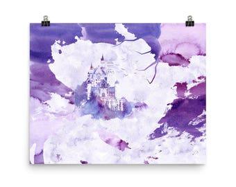 Ultra Violet Fantasy Castle Poster - Beauty-gift