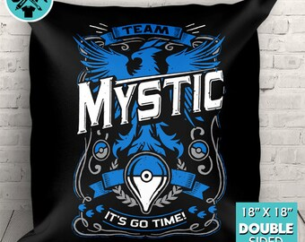 """Team Mystic Go Video Game Inspired Couch Pillow Decorative Pillow Throw Pillow 18""""x18"""""""