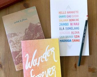 Wander Forever Sketchbook, traveler gift, wanderlust, travel journal, teacher gifts, stocking stuffer, wanderlust gift, travel sketchbook