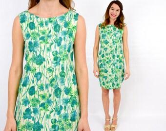 60s Green Flowered Sheath Dress | Sleeveless Flower Print Dress | Small