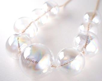 PERLA dichoric - Rainbow coated Dichoric Glass bubble pearl necklace