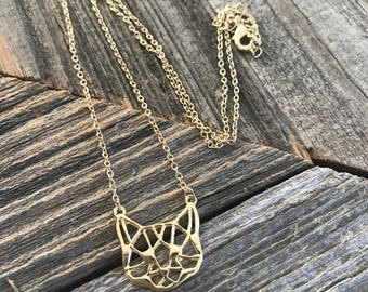 Kitty Necklace -- Cat Necklace -- Meow -- Gold Cat -- Origami Cat