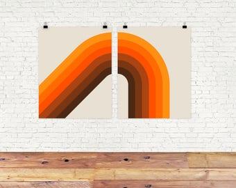 Golden Corner Print Set, Set of 2, Giclee Print, orange and brown, diptych, Mid Century Modern, Retro Art, Office Decor, Wall Art Set