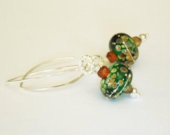Spring Green Lampwork Gemstone Earrings , Handmade Earrings, Artisan Jewelry, Modern Lampwork Earrings, Gift for Her