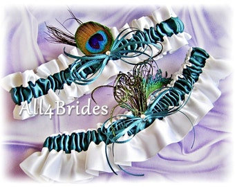 Teal peacock feathers bridal garters, peacock wedding leg garter set, prom garters.