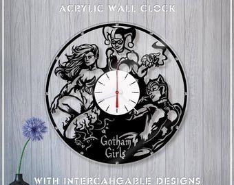 Acrylic Clock Gotham Sirens /DC Wall Clock *A068 Crystal Clock/Mirror Clock/Catwoman Clock/Harley Quinn Clock/Poison Ivy Clock /DC Fan Gift