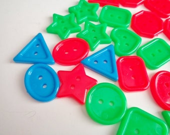 Large Multi Shaped Plastic Buttons