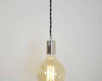 Chrome Hanging Light - Nickel Pendant Light - Modern Plug In Lamp - Modern Lighting - Unique Lights - Drop Light - Accent Lighting - Mood
