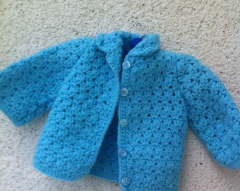 Jacket sky blue for 1-month-old, hot and soft baby