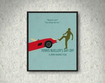 Ferris Bueller's Day Off Minimalist Movie Poster Print, Ferris Bueller Poster, Wall Art, Home Decor, Car Version