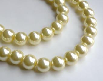 Yellow glass pearl beads round 14mm full strand 7825GB