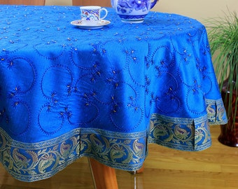 """Hand Embroidered Round Tablecloth (Ocean Blue, 85"""" Round)"""