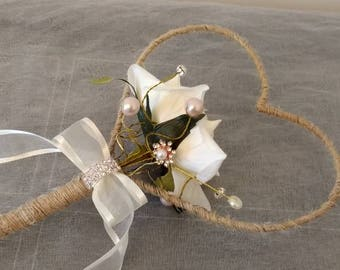 Wedding Bouquet...Rustic Flower Girl Wand...Heart Wand