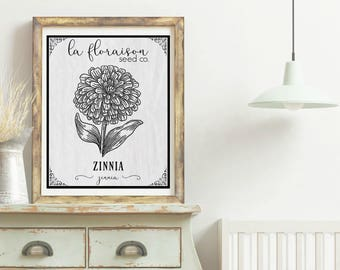 French Cottage Style Seed Packet Printable - Zinnia