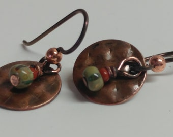 Copper earrings with red and green beads
