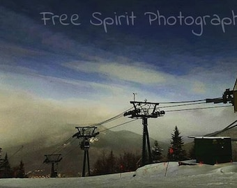 Instant Download. Ski Mountain. Winter. Clouds Rolling In, Digital Photography