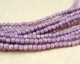 Czech Beads, 3mm English Cut, Czech Glass Beads - Lavender Luster (EC3/SM-P14415) - Qty. 50