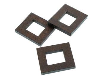 Ensemble de 5 rectangles en bois naturel teint - 25x30mm - Connecteur ou Pendentif