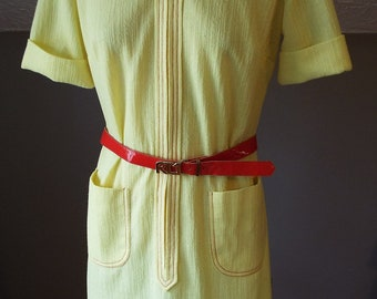 Vintage Short Sleeve Yellow and Red Dress by Route One