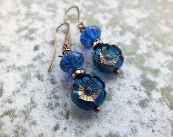 Boho Earrings -Beaded Earrings - Royal Blue Earrings - Drop Earrings - Floral Earrings - Blue Earrings