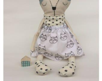 Cat Doll - Cloth Doll - Nursery decor - Handmade Doll - Soft Doll