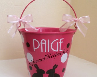Personalised Metal Easter Egg Hunt Bucket Unique Fillable Chocolate Goodies Easter Bunny Reusable Treat Bucket Rabbit Fun Children Kids