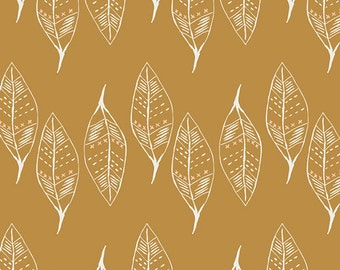 Mustard Yellow, Leaf Fabric, Modern Cotton Fabric by the Yard, Gusts of Leaves Gold, Wanderer, Art Gallery Yardage, Earthy print