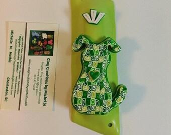 Dog Retro Green Silhouette on a Wasabi Polymer Clay Mezuzah Case
