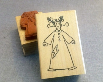 Rubber Stamp Little Lady Steaming Mad Wood Mount Stamp