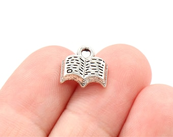 10 Pcs Book Charms Antique Silver Tone 12x11mm - YD1227