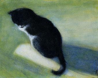 SALE   Original Tuxedo Cat oil painting.  Charlie in the Sun