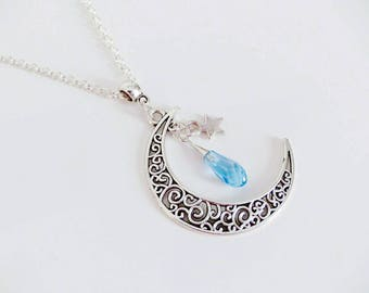 Necklace Moon filigree and blue Swarovski drop