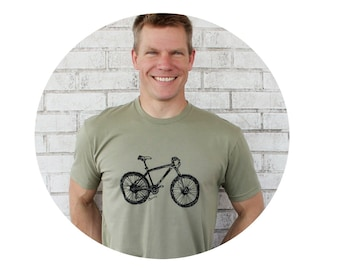 Mountain Bike Tshirt, Men's Cotton Crew-neck Bicycle T Shirt, Short Sleeved Unisex Tshirt in Light Olive, Cyclist Graphic Tee,Fun Outdoors