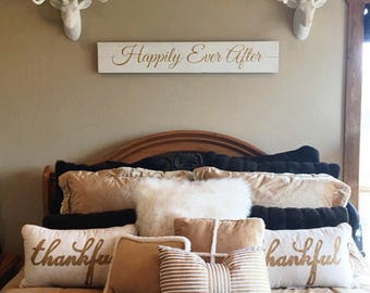Happily Ever After | Metallic Gold Lettering | Wedding | Long thin sign | Sign for master bedroom | Big sign for home | Sign with saying