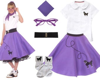 6 pc MEDIUM Child (7-9)  50's Poodle Skirt OUTFIT