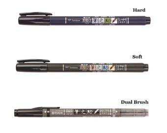 Tombow Fudenosuke Fude Brush Felt Tip Pen GCD-111 GCD-112 GCD-111