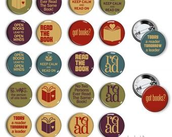 Books pinback button badges