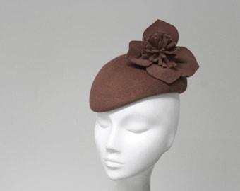 The Duchess Hat - Brown Felt Hand Sculpted Designer Races Fascinator Hat - Petite Cocktail Hat