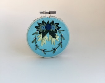 """Blue Blossoms 3"""" Embroidered Hoop    Embroidery art, embroidery hoop, flower embroidery. embroidery hoop art, hand embroidery"""