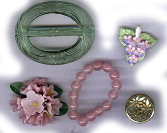 vintage findings pink green COLOR BLEND ceramic czech buckle glass flower antique inspiration repurposing celluloid