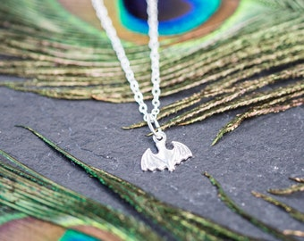 """Bat Pendant on an 18"""" chain with an optional initial charm on the clasp end"""