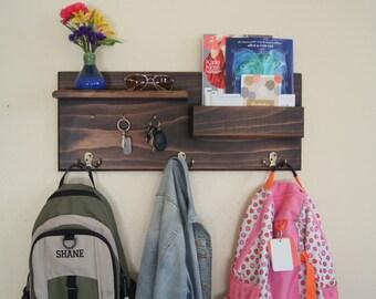 Coat Hooks Key Rack Entryway Hook Organizer with Mail Storage